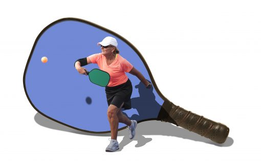 Senior Woman Pickleball Player Against Paddle Composite