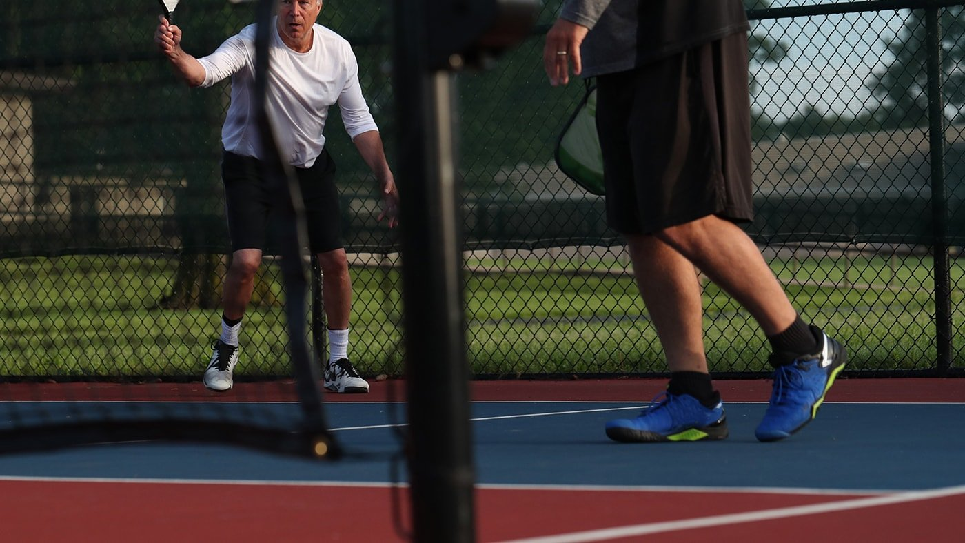 The Best Pickleball Shoes for Men: Image of pickleball shoes in play