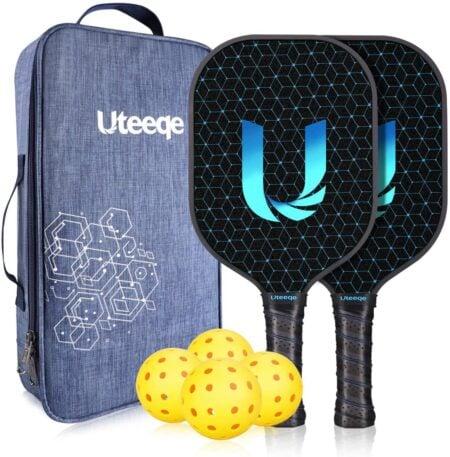 Uteeqe Graphite Pickleball Paddle Set Lightweight Texture Surface Polymer Honeycomb Core